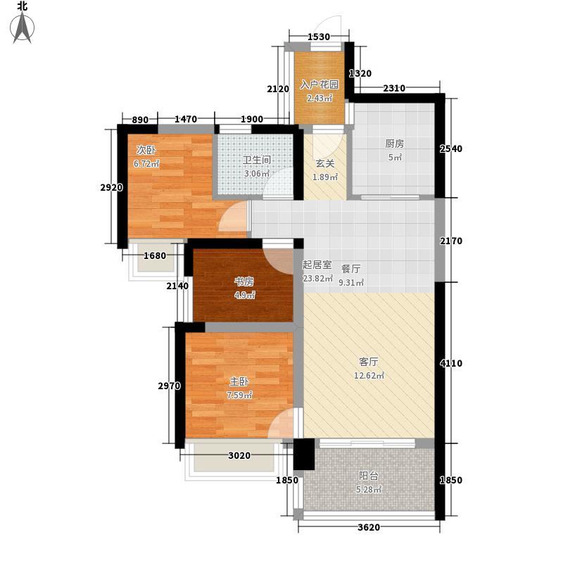 宝能五象湖1号82.60㎡2、3、5号楼02/03单元D户型3室2厅1卫1厨