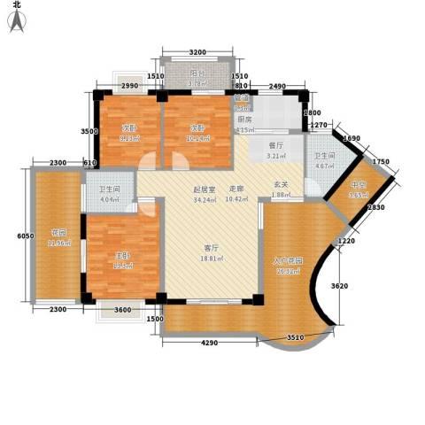 嘉业海华公寓3室0厅2卫1厨133.00㎡户型图