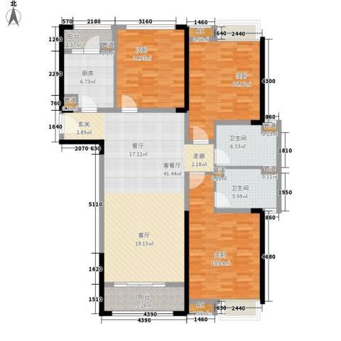 南京万达广场3室1厅2卫1厨136.00㎡户型图