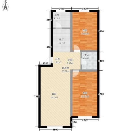 宁泰景园2室0厅1卫1厨116.00㎡户型图