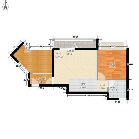 德盛南岛康城1室0厅1卫0厨51.00㎡户型图