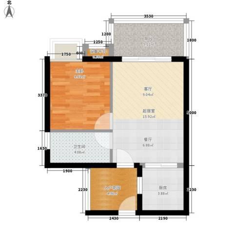 东方海岸1室0厅1卫1厨52.00㎡户型图