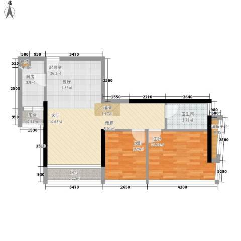 大学印象2室0厅1卫1厨81.00㎡户型图
