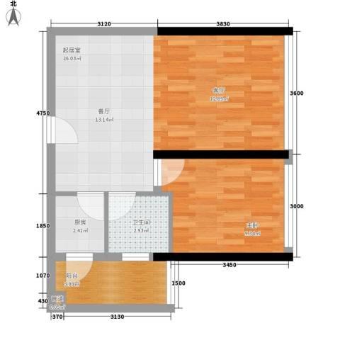 大学印象1室0厅1卫1厨45.00㎡户型图