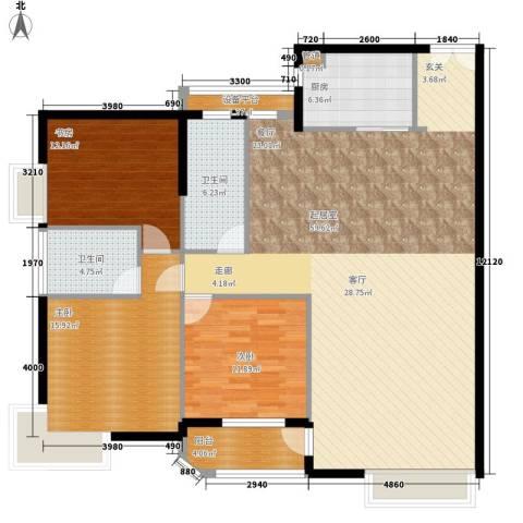 岳麓1号3室0厅2卫1厨146.00㎡户型图