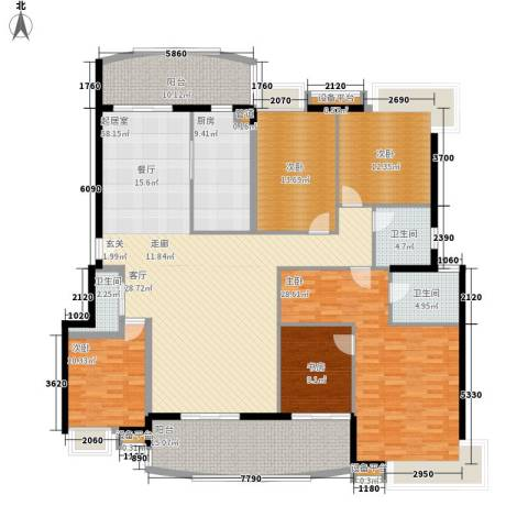 岳麓1号5室0厅3卫1厨229.00㎡户型图