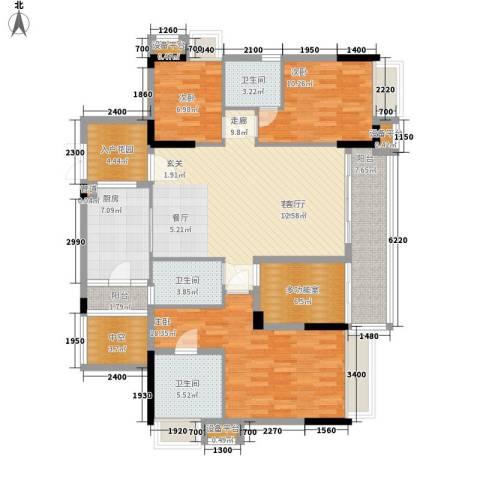 御龙湾3室1厅3卫1厨135.00㎡户型图