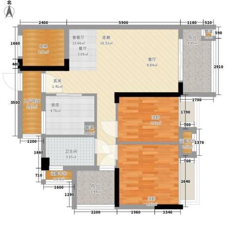御龙湾2室1厅1卫1厨76.00㎡户型图