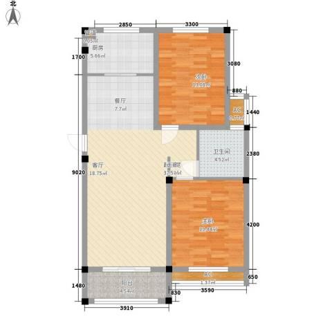 中亚.东方名都2室0厅1卫1厨111.00㎡户型图
