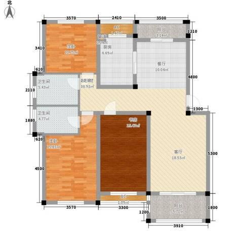 中亚.东方名都3室0厅2卫1厨160.00㎡户型图