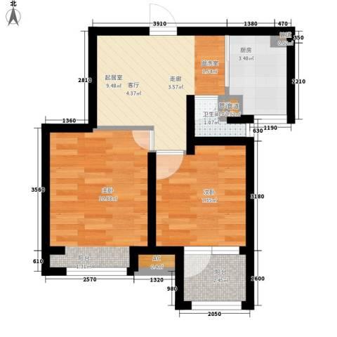 荣盛楠湖郦舍2室0厅1卫1厨56.00㎡户型图