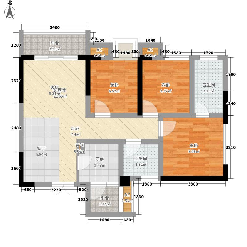 天羽揽月81.42㎡1期标准层A1户型3室2厅2卫1厨