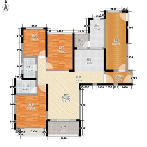 恒大・名都3室0厅2卫1厨132.00㎡户型图