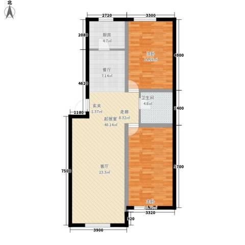 宁泰景园2室0厅1卫1厨118.00㎡户型图