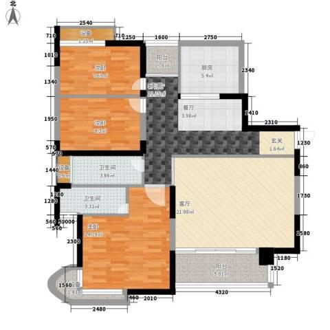 天工太阳岛3室2厅2卫1厨105.00㎡户型图