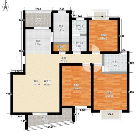 江南清漪园3室1厅3卫1厨110.00㎡户型图