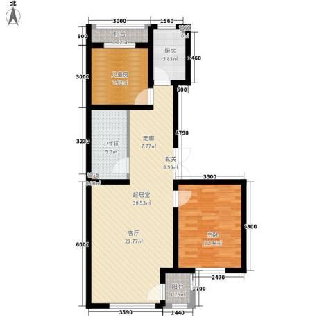 明华西江俪园2室0厅1卫1厨90.00㎡户型图