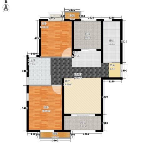 东方苑小区2室1厅1卫1厨130.00㎡户型图