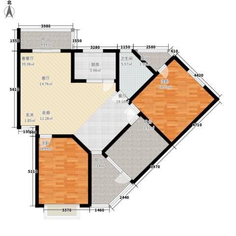 锦绣东方2室1厅1卫1厨159.00㎡户型图