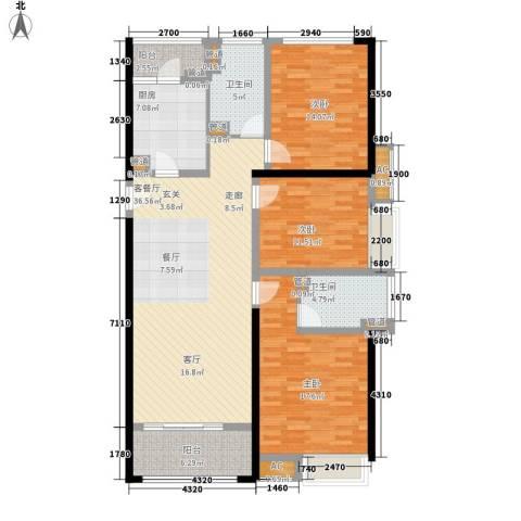 南京万达广场3室1厅2卫1厨124.00㎡户型图