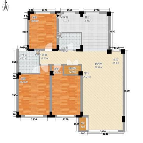 中房上东花墅3室0厅2卫0厨122.00㎡户型图