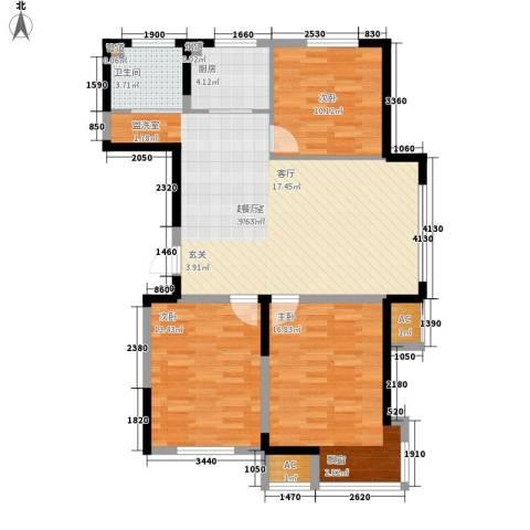 中房上东花墅3室0厅1卫1厨94.00㎡户型图