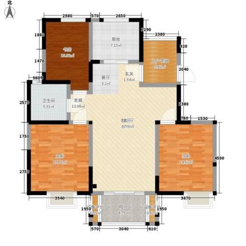 美满锦园3室1厅1卫1厨117.00㎡户型图