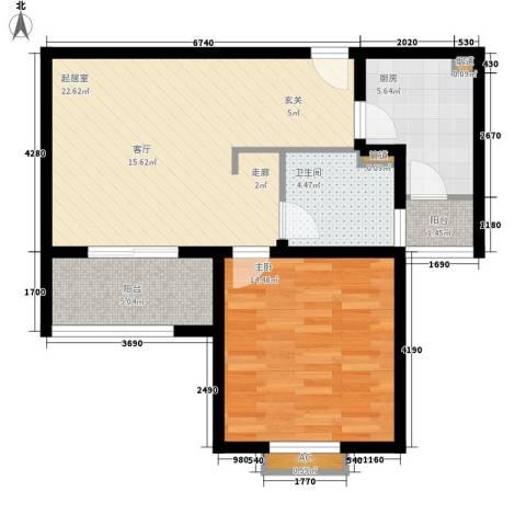 杉林新月家园1室0厅1卫1厨63.00㎡户型图