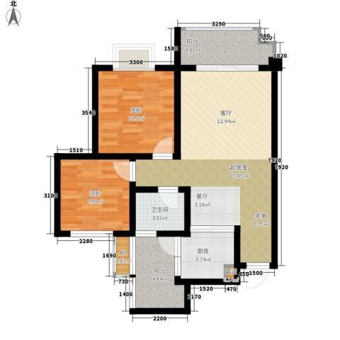兴发金域丽江2室0厅1卫1厨73.00㎡户型图