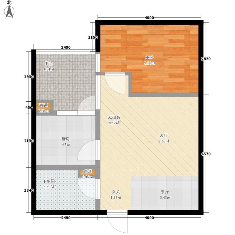 仁和金沙59.79㎡仁和金沙户型图J型1室1厅1卫1厨户型1室1厅1卫1厨