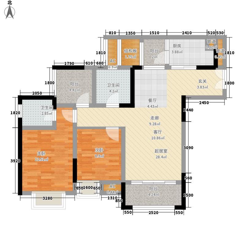两江春城98.39㎡高层A户型2室2厅