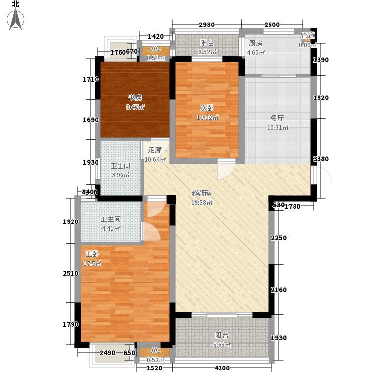 锦绣花园117.62㎡锦绣花园户型图J户型3室2厅2卫1厨户型3室2厅2卫1厨