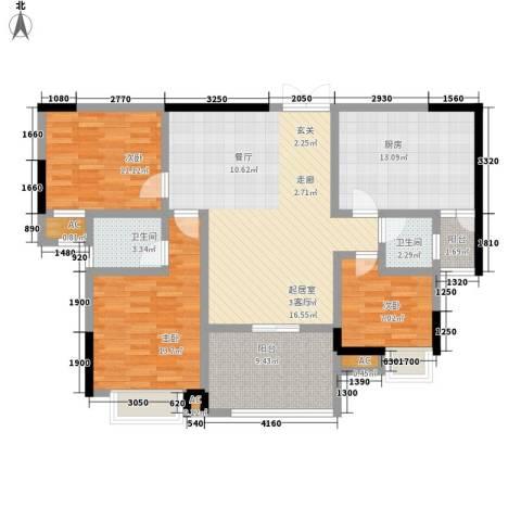 锦绣银湾3室0厅2卫1厨137.00㎡户型图