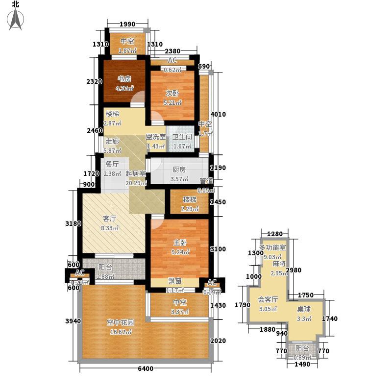 农房索河湾花园洋房B一层户型3室2厅