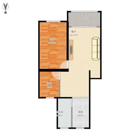 万荣小区2室1厅1卫1厨70.00㎡户型图