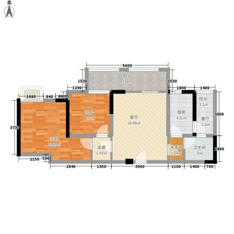 司南3空间2室1厅1卫1厨72.00㎡户型图
