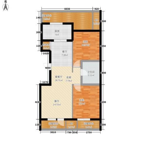 绿城沈阳全运村2室1厅1卫1厨117.00㎡户型图