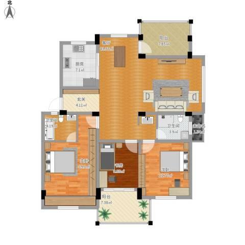 冠达豪景东苑3室1厅2卫1厨163.00㎡户型图