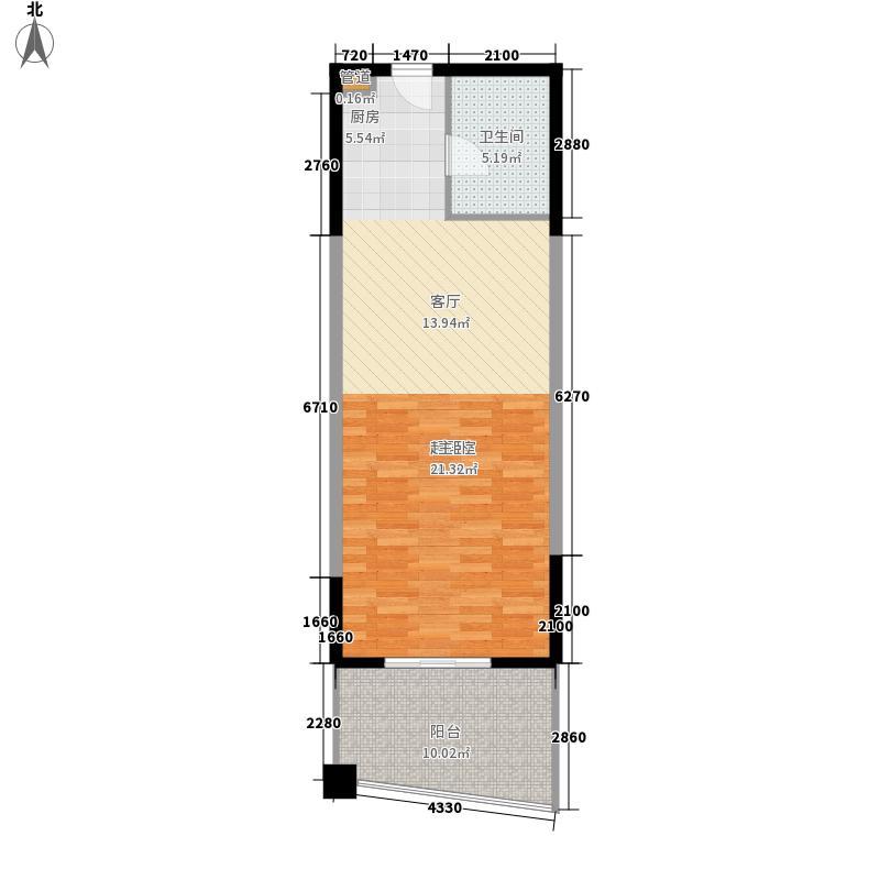 心屿海74.49㎡心屿海户型图B户型1室2厅1卫1厨户型1室2厅1卫1厨
