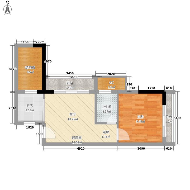 华庭・时光里46.45㎡华庭・时光里户型图C-A1室1厅1卫1厨户型1室1厅1卫1厨