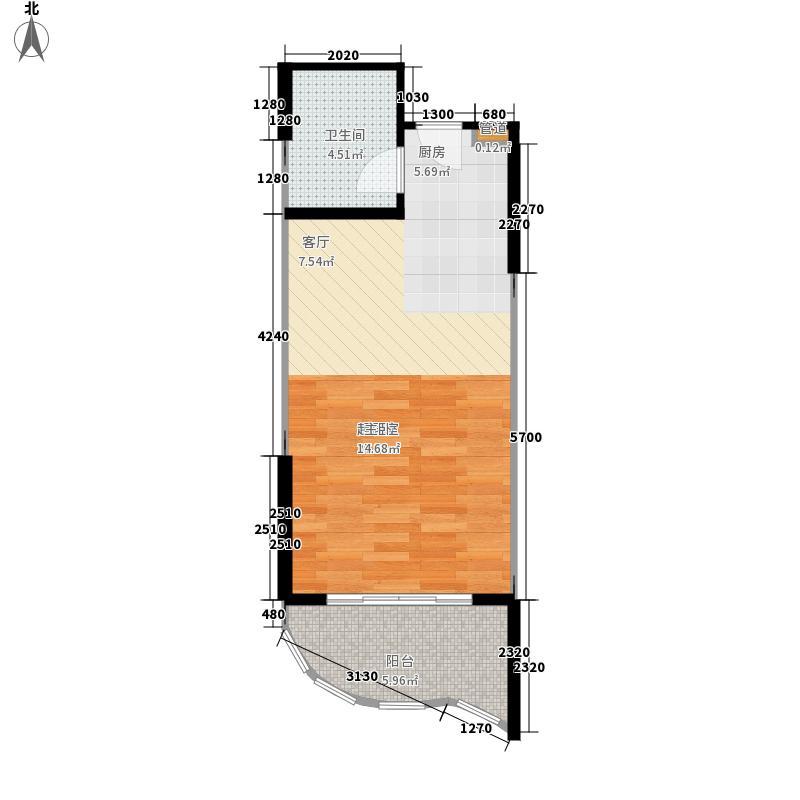心屿海54.58㎡心屿海户型图G户型1室1厅1卫1厨户型1室1厅1卫1厨