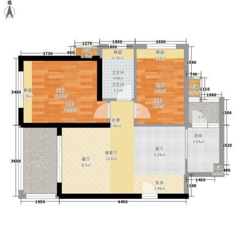 御龙湾2室1厅1卫1厨77.00㎡户型图
