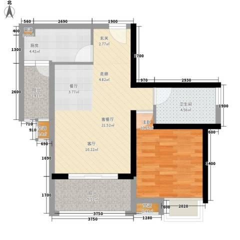 御龙湾1室1厅1卫1厨68.00㎡户型图