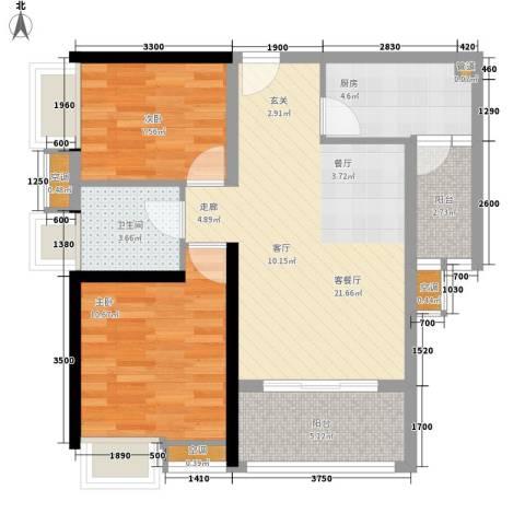 御龙湾2室1厅1卫1厨80.00㎡户型图