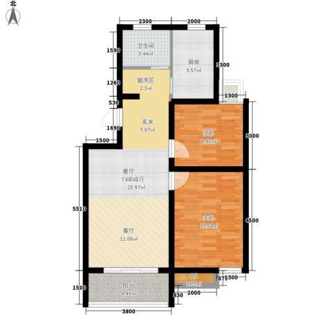 金水湾2室1厅1卫1厨89.00㎡户型图