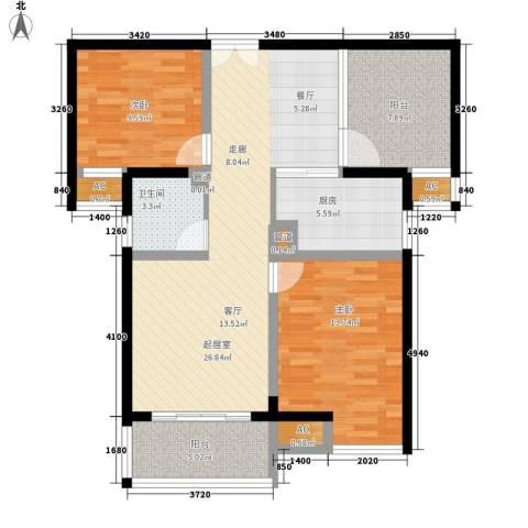 国泰名都2室0厅1卫1厨87.33㎡户型图