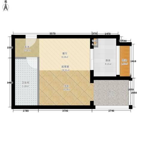 芳馨园小区1卫1厨46.00㎡户型图