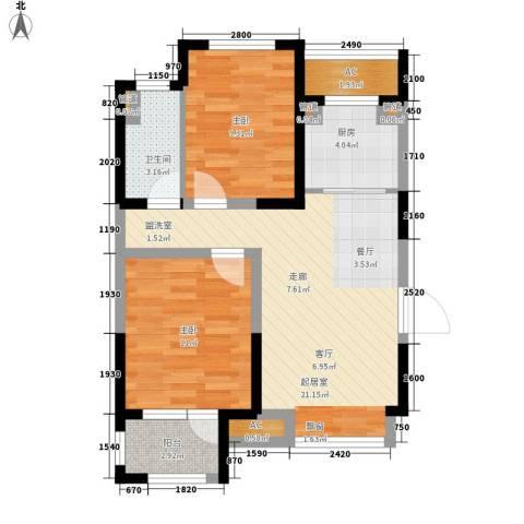 荣盛楠湖郦舍2室0厅1卫1厨75.00㎡户型图