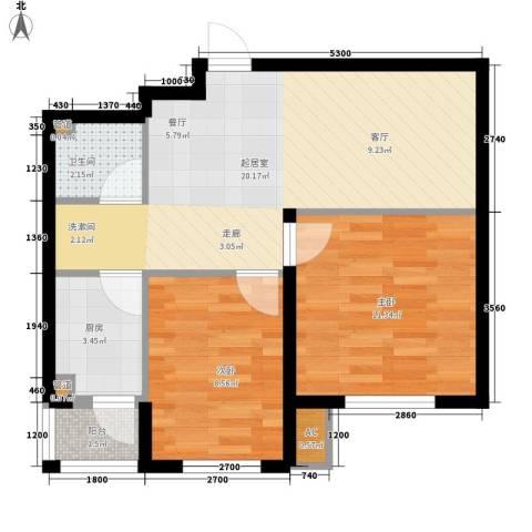 富馨花园2室0厅1卫1厨62.00㎡户型图