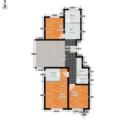 汇豪山水华府3室1厅3卫1厨122.00㎡户型图